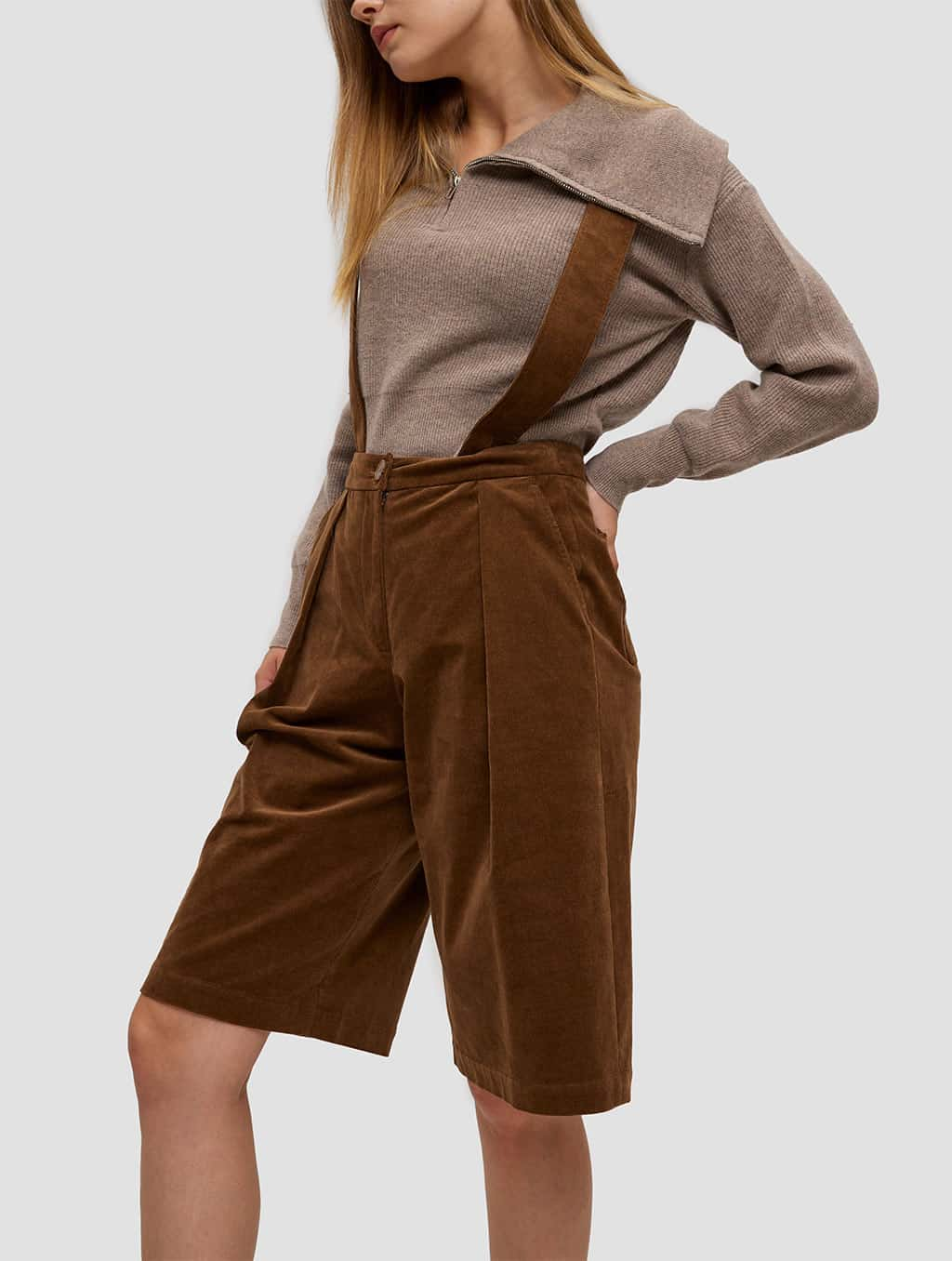 Overall Shorts - side- brown