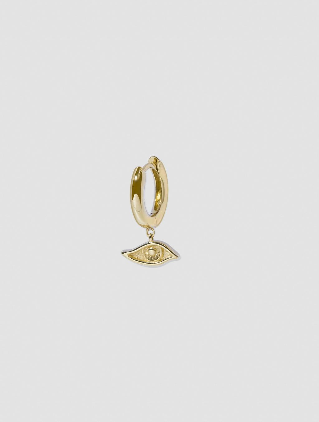Single Devil's Eye Hoop Earring-positive-gold