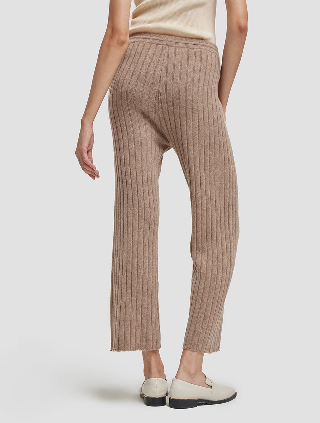 Slim fit casual cashmere pants-back-khaki