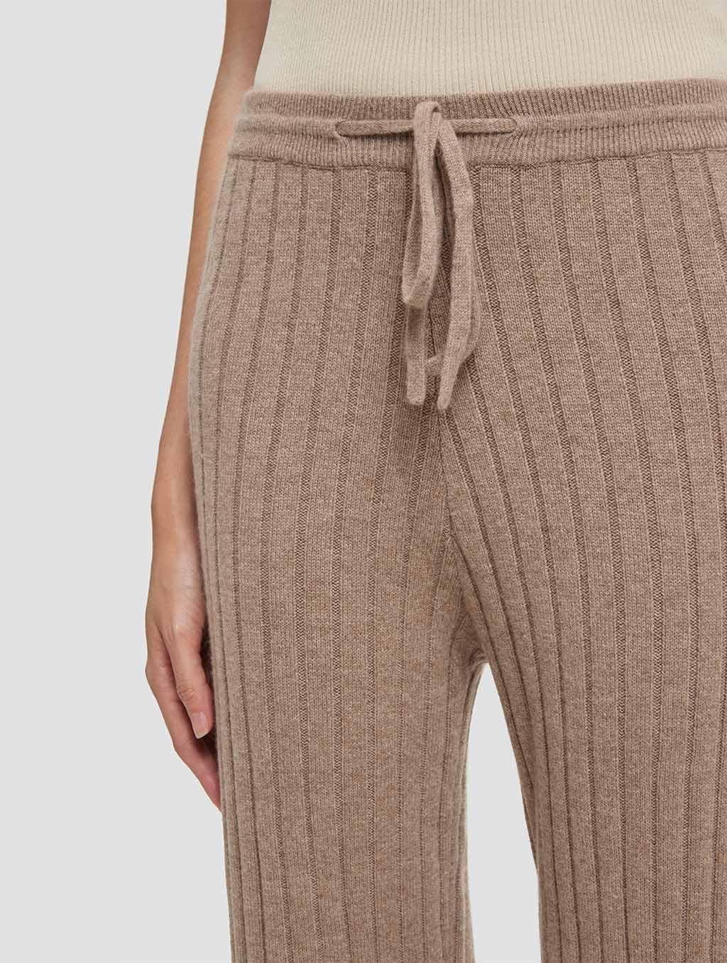 Slim fit casual cashmere pants-detail-khaki