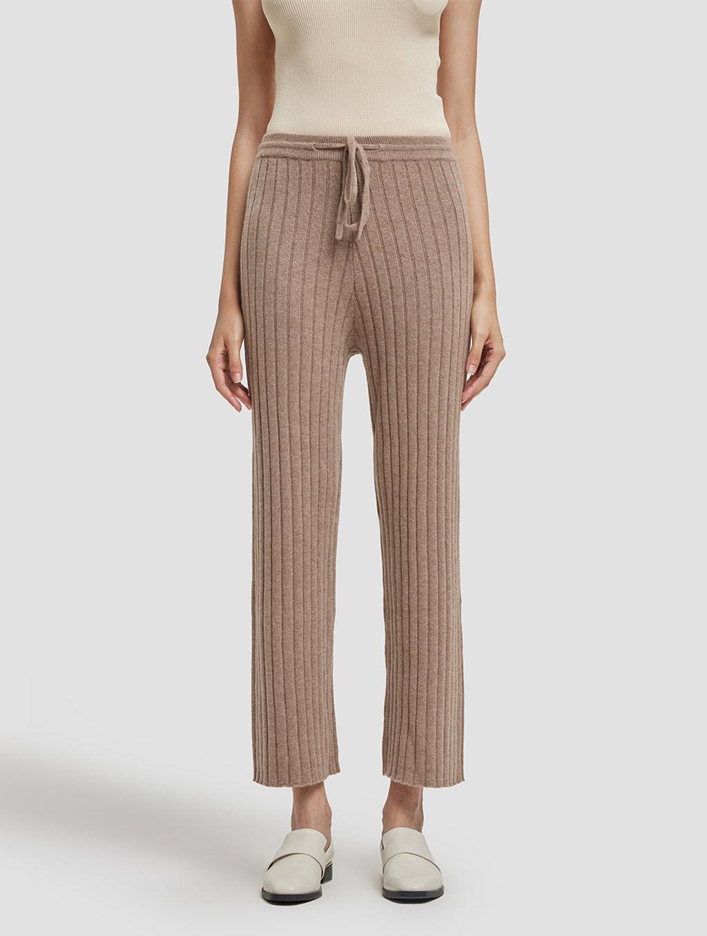 Slim fit casual cashmere pants-positive-khaki