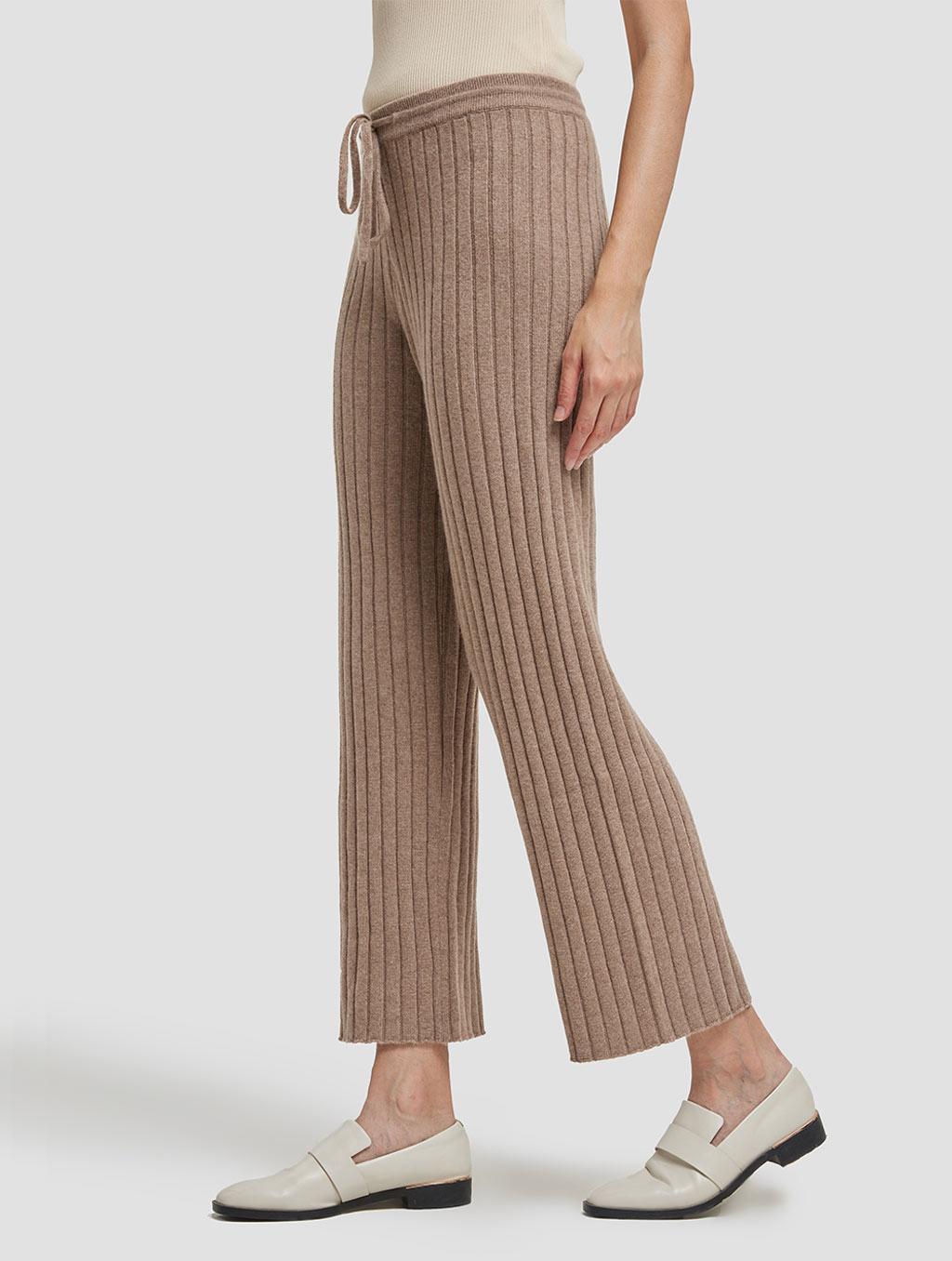 Slim fit casual cashmere pants-side-khaki