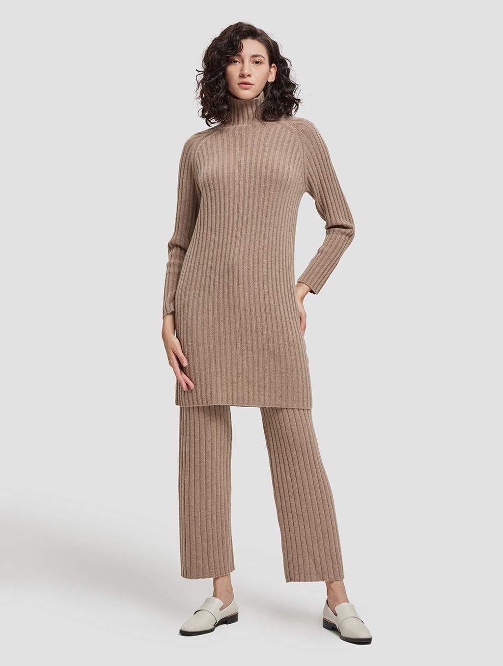 Slim fit casual cashmere pants-whole body-khaki