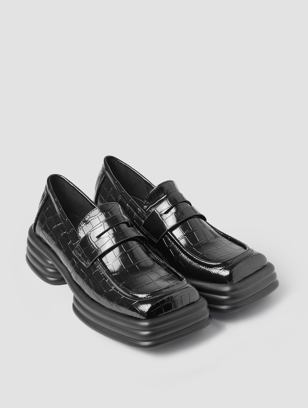 Square Toe Loafers - positive- Crocodile-print Black1