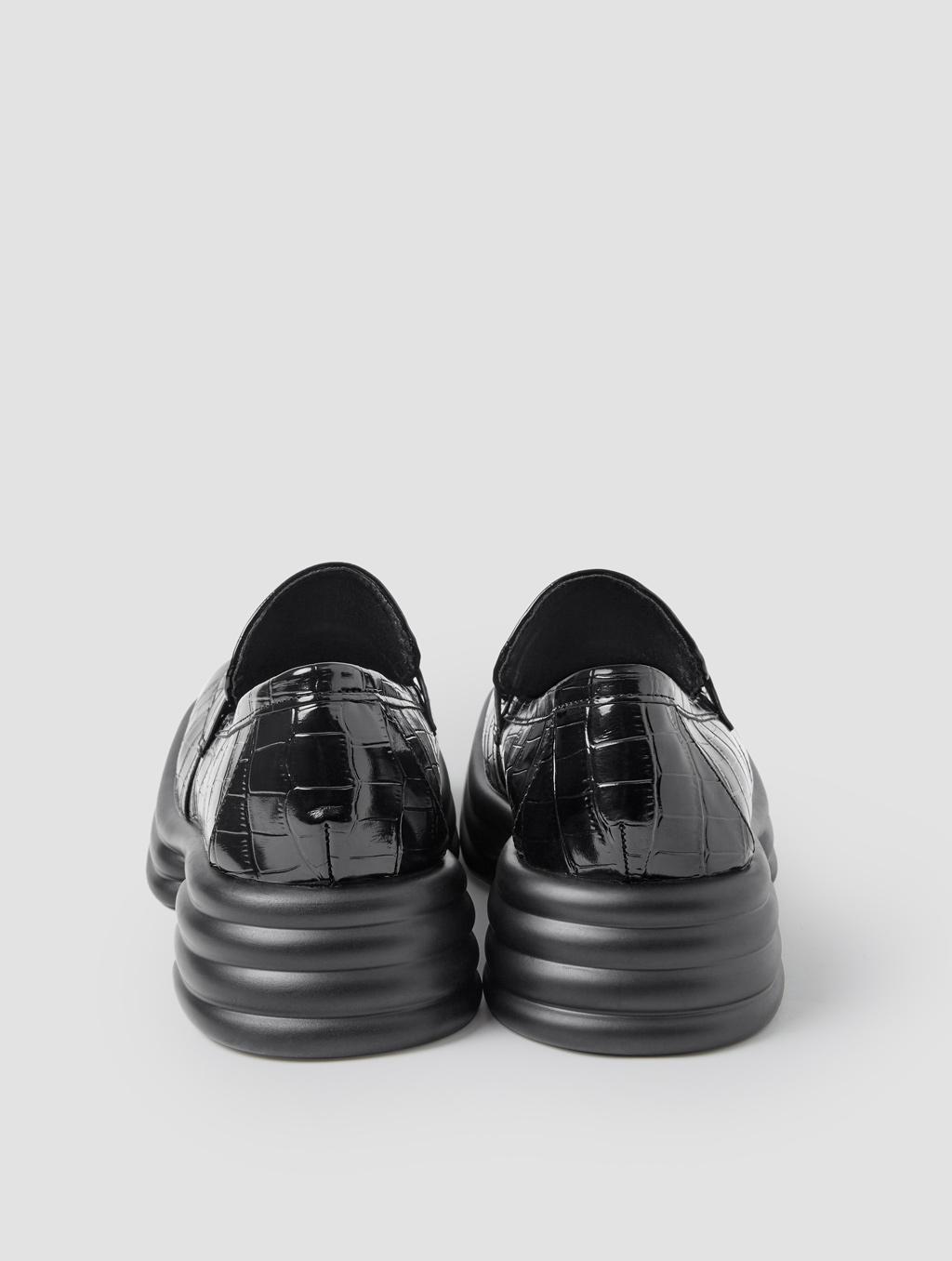 Square Toe Loafers - positive- Crocodile-print Black3
