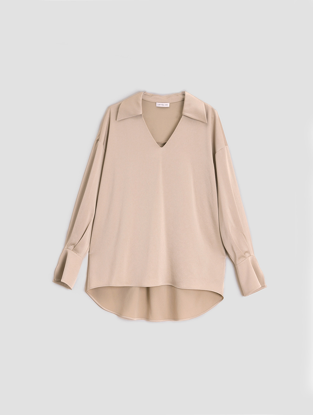 buttoned cuff blouse- Tiled-light camel