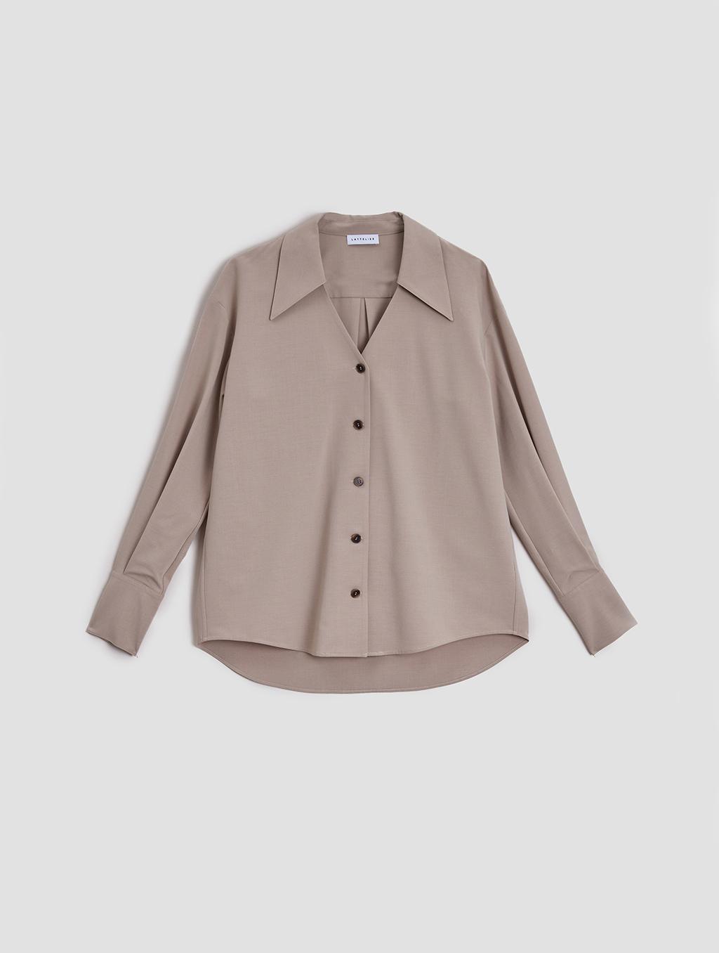 buttoned lantern sleeve shirt- Tiled-Light Taupe