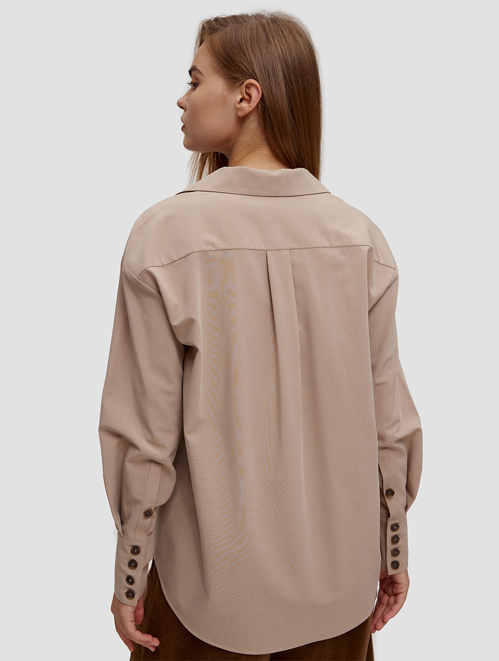 buttoned lantern sleeve shirt - back- Light Taupe