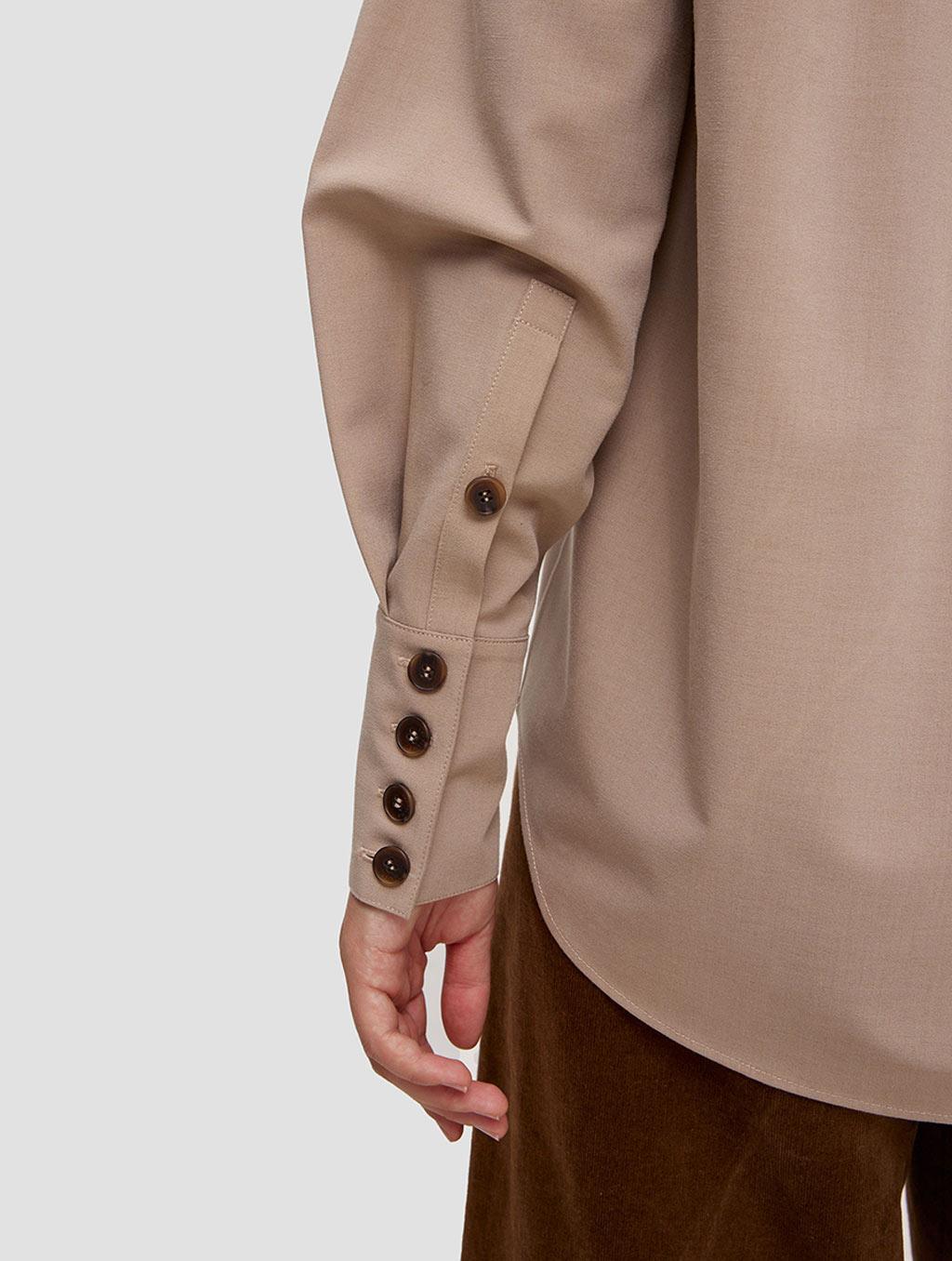 buttoned lantern sleeve shirt - detail- Light Taupe