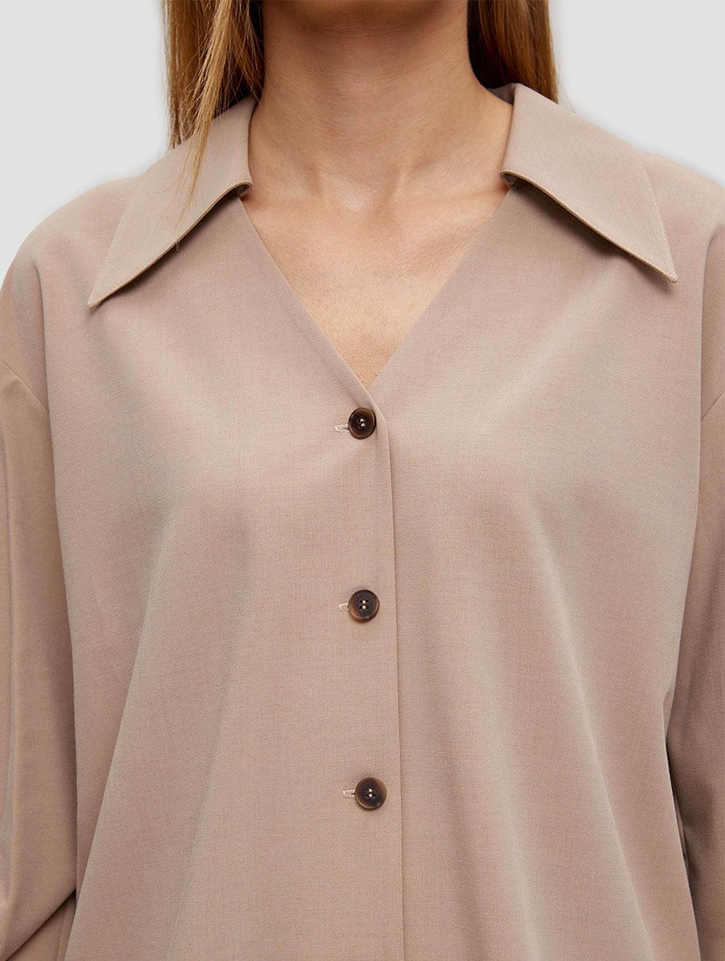 buttoned lantern sleeve shirt - detail1- Light Taupe