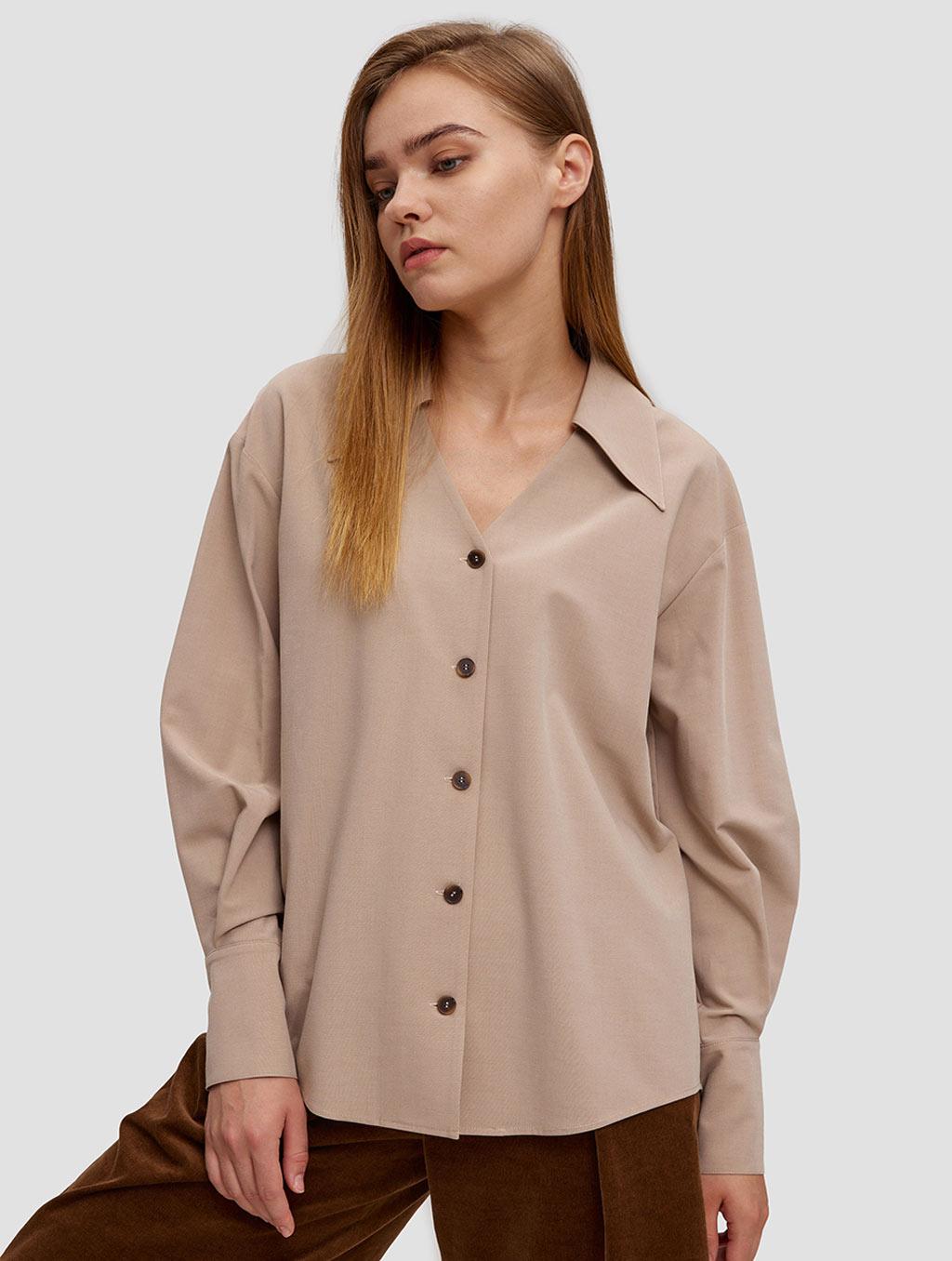 buttoned lantern sleeve shirt - positive- Light Taupe