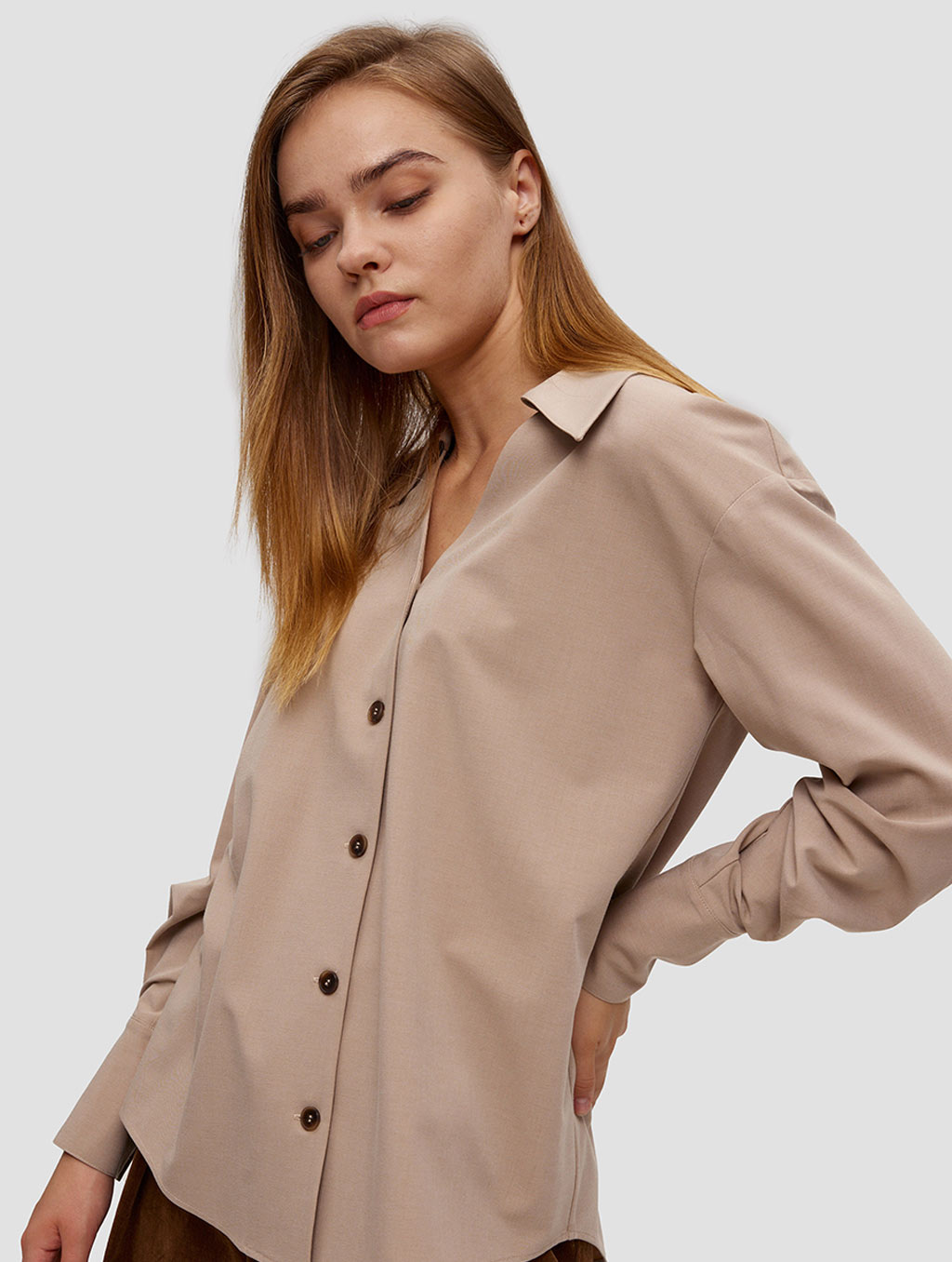 buttoned lantern sleeve shirt - side- Light Taupe