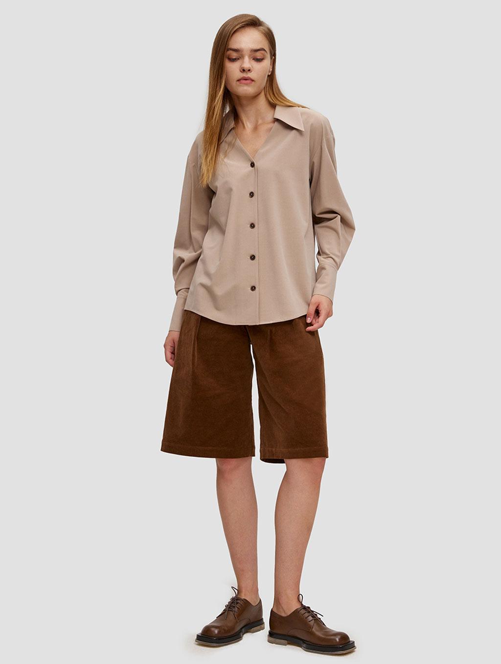 buttoned lantern sleeve shirt - whole body- Light Taupe