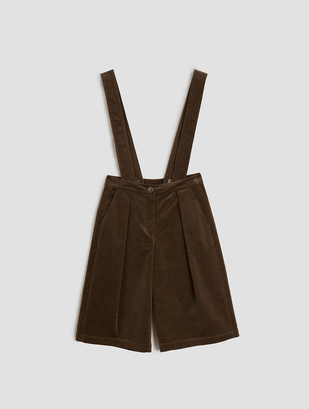 overall shorts- Tiled-brown