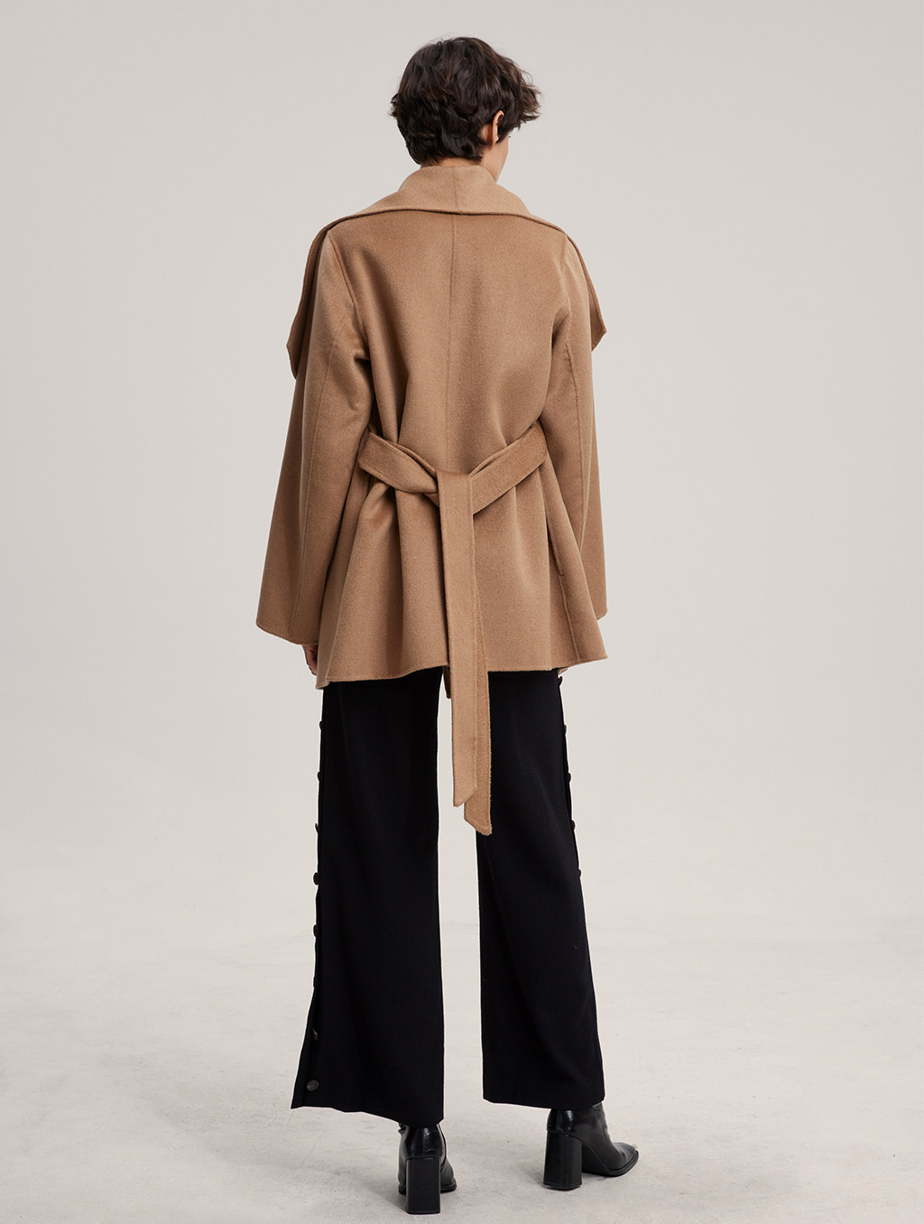 Waisted Belted 100% Camel Hair Coat - Camel, S