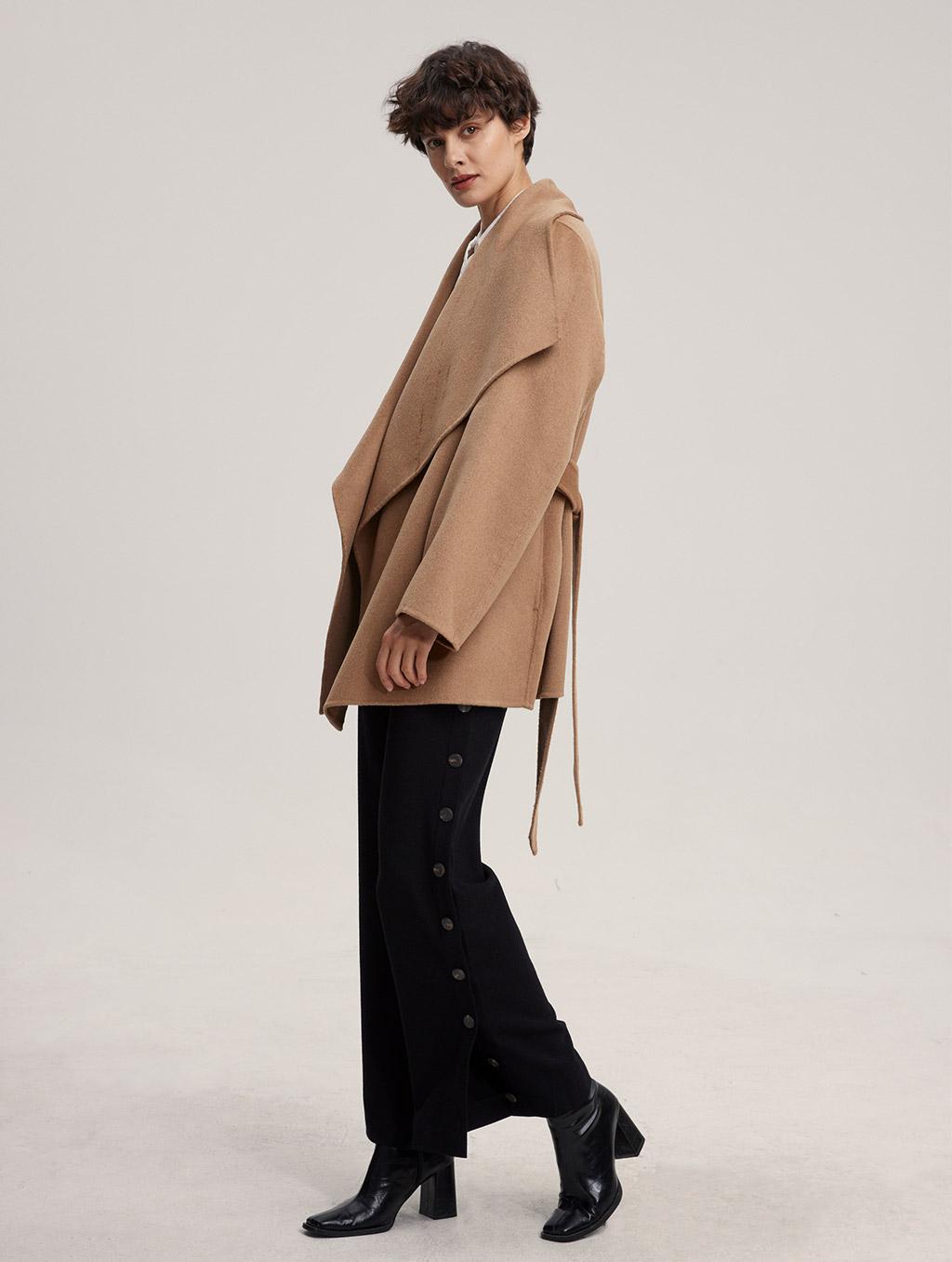 Waisted Belted 100% Camel Hair Coat - side- Camel